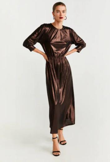 Robe longue métallisée MANGO 49,99€
