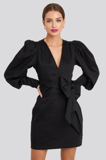 Bow Detail Long Sleeve Mini Dress Noir NAKD 66,95€