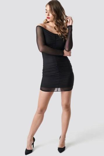 Off Shoulder Ruched Mesh Dress Noir NAKD 44,95€