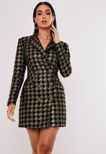 """robe blazer dorée avec motif pied-de-poule MISSGUIDED 80,99€ mais avec le code """"YESPLEASE"""" -50% elle revient donc à 40,49€"""